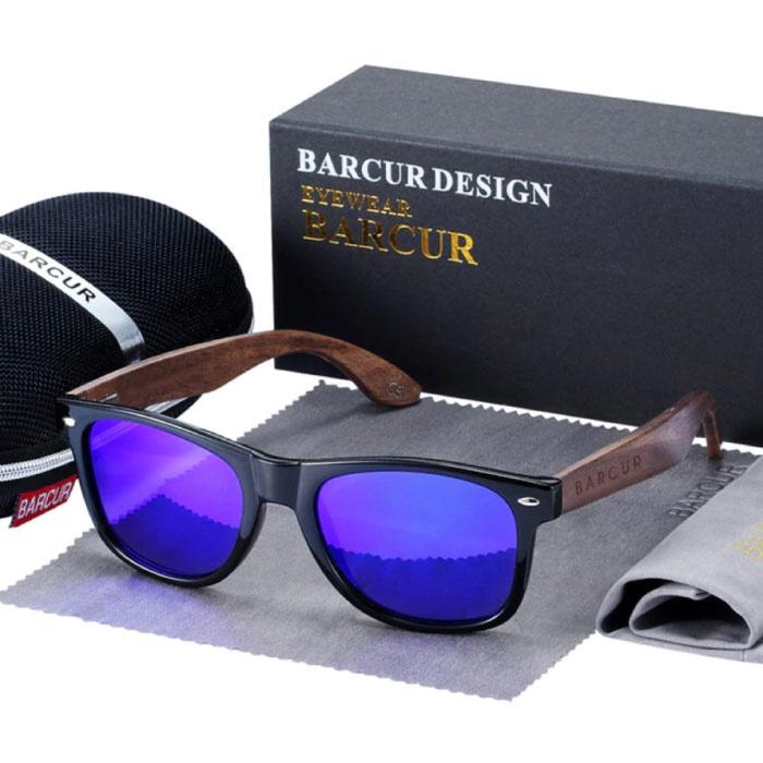 Lunettes de soleil Noyer Bois - Filtre UV400 et Polaroid pour Homme et Femme - Violet