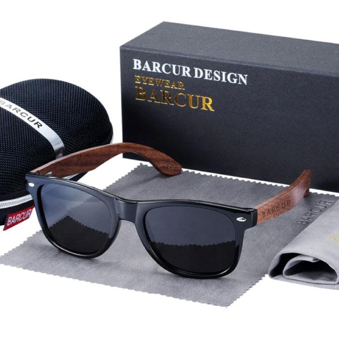 Zonnebril Walnoot Hout - UV400 en Polaroid Filter voor Mannen en Vrouwen - Zwart