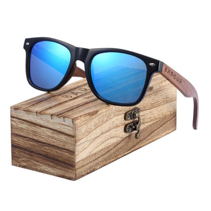Lunettes de soleil en noyer avec boîte en bois - Filtre UV400 et Polaroid pour homme et femme - Bleu
