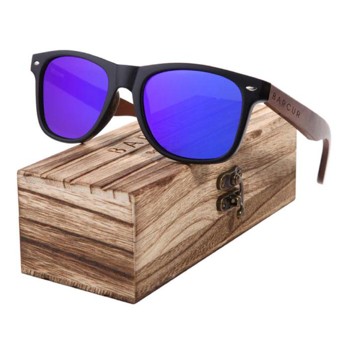 Lunettes de soleil en noyer avec boîte en bois - Filtre UV400 et Polaroid pour homme et femme - Violet