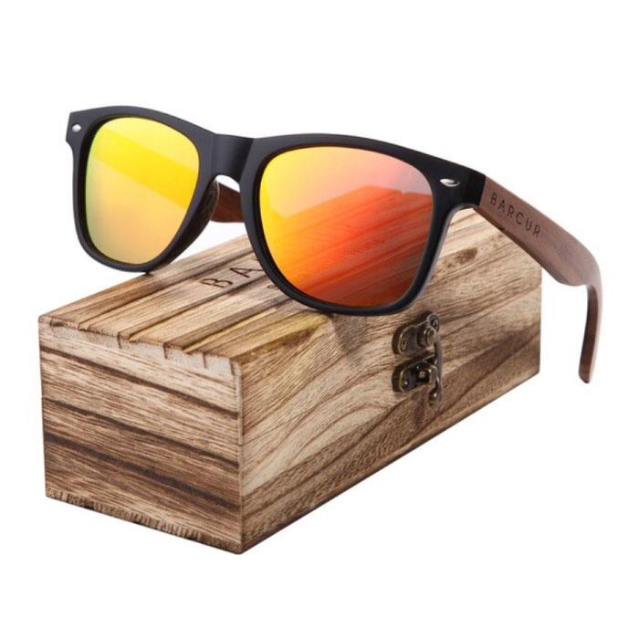 Lunettes de soleil en noyer avec boîte en bois - Filtre UV400 et Polaroid pour homme et femme - Orange