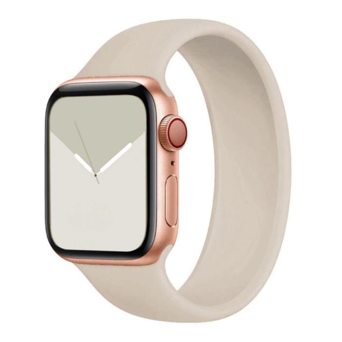 Siliconen Bandje voor iWatch 42mm / 44mm  (Medium) - Armband Strap Polsband Horlogeband Beige