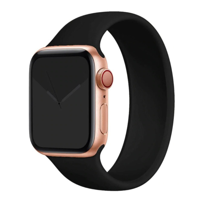 Siliconen Bandje voor iWatch 42mm / 44mm  (Medium) - Armband Strap Polsband Horlogeband Zwart