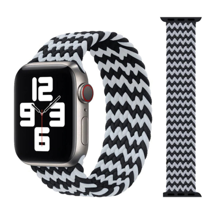 Gevlochten Nylon Bandje voor iWatch 38mm / 40mm  (Medium) - Armband Strap Polsband Horlogeband Zwart-Wit