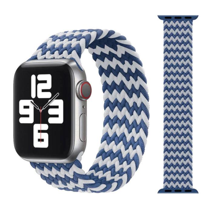 Gevlochten Nylon Bandje voor iWatch 42mm / 44mm  (Small) - Armband Strap Polsband Horlogeband Wit-Blauw