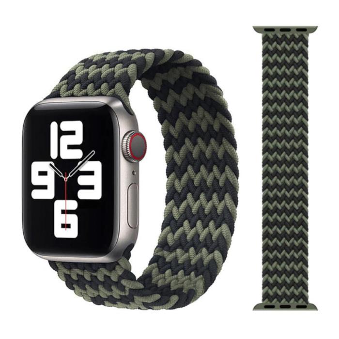 Gevlochten Nylon Bandje voor iWatch 42mm / 44mm  (Small) - Armband Strap Polsband Horlogeband Zwart-Groen