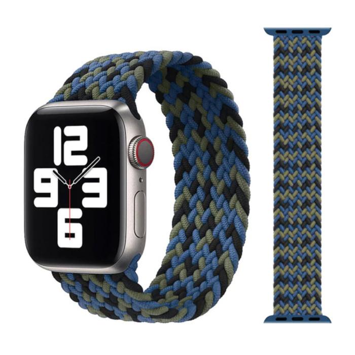 Gevlochten Nylon Bandje voor iWatch 38mm / 40mm  (Medium) - Armband Strap Polsband Horlogeband Zwart-Groen-Blauw