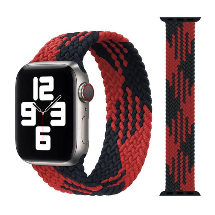 Gevlochten Nylon Bandje voor iWatch 42mm / 44mm  (Medium) - Armband Strap Polsband Horlogeband Zwart-Rood