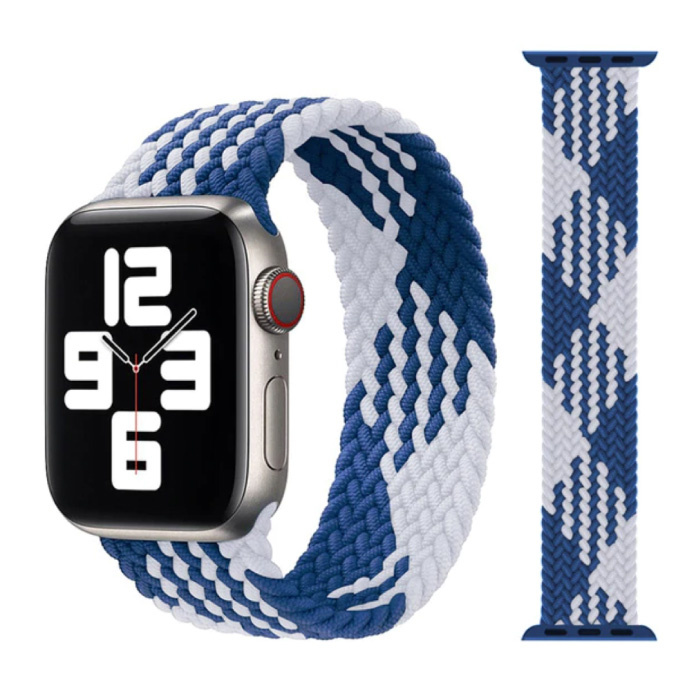 Braided Nylon Strap for iWatch 42mm / 44mm (Small) - Bracelet Strap Wristband Watchband White-Blue