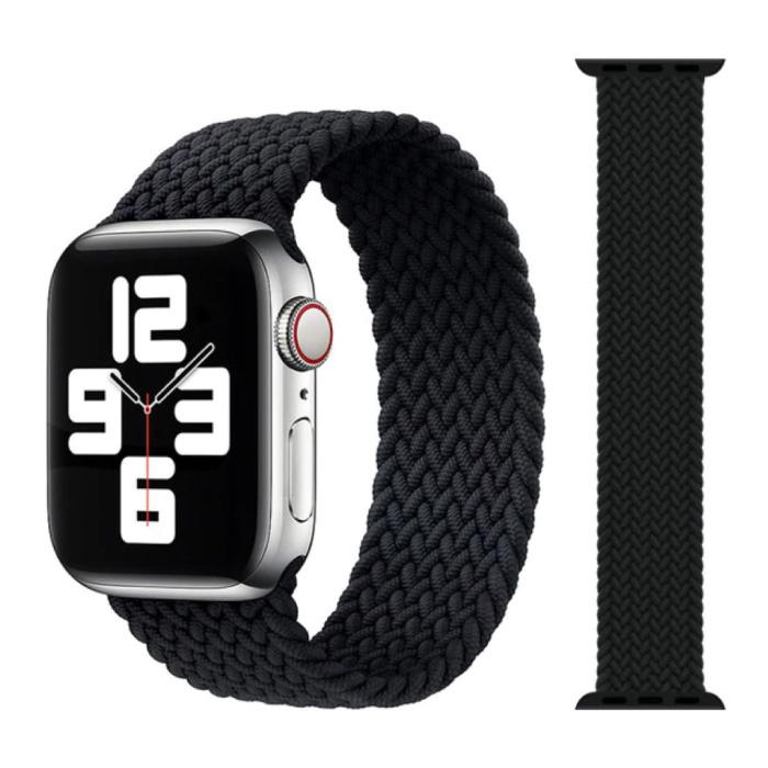 Gevlochten Nylon Bandje voor iWatch 38mm / 40mm  (Medium) - Armband Strap Polsband Horlogeband Zwart
