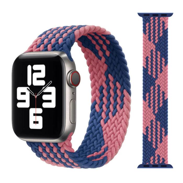 Gevlochten Nylon Bandje voor iWatch 38mm / 40mm  (Medium) - Armband Strap Polsband Horlogeband Blauw-Roze