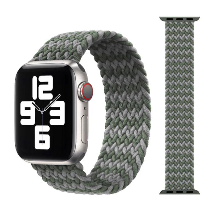 Gevlochten Nylon Bandje voor iWatch 38mm / 40mm  (Extra Small) - Armband Strap Polsband Horlogeband Grijs-Groen