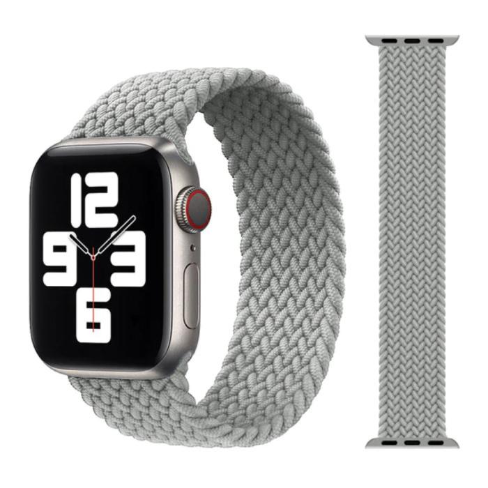Gevlochten Nylon Bandje voor iWatch 38mm / 40mm  (Medium) - Armband Strap Polsband Horlogeband Lichtgrijs