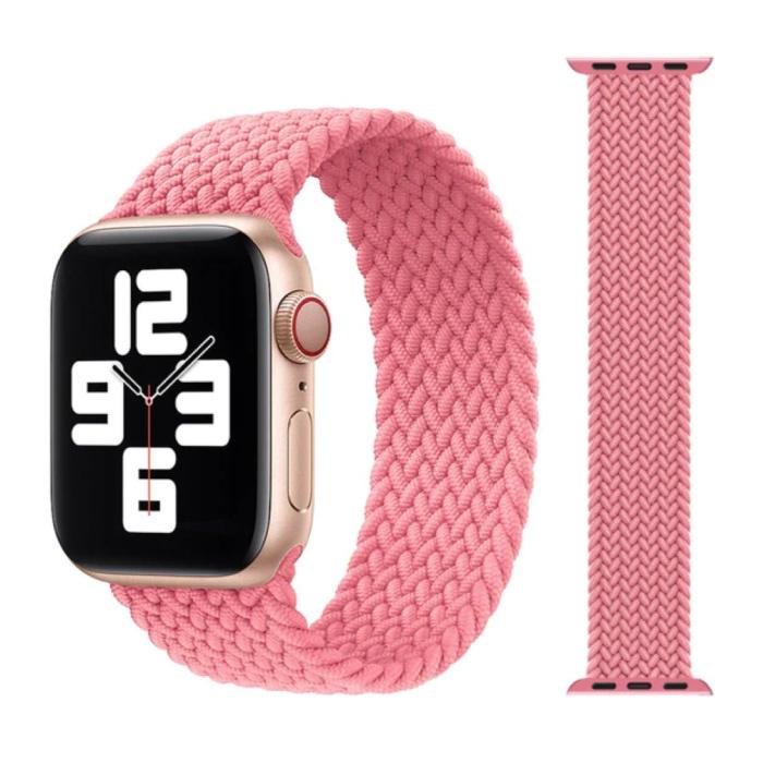 Gevlochten Nylon Bandje voor iWatch 42mm / 44mm  (Extra Small) - Armband Strap Polsband Horlogeband Roze
