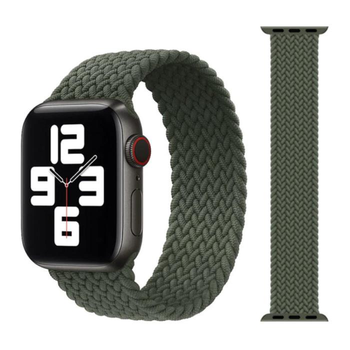 Gevlochten Nylon Bandje voor iWatch 42mm / 44mm  (Large) - Armband Strap Polsband Horlogeband Groen