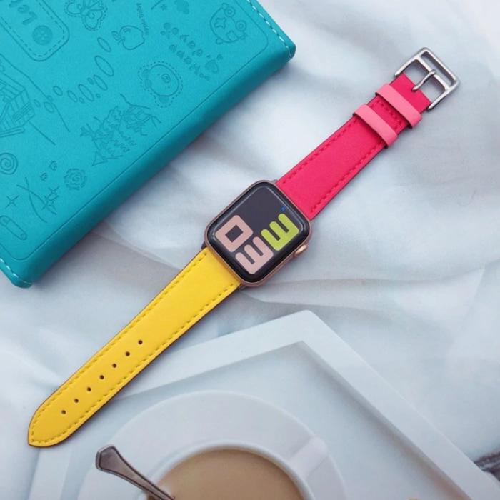 Lederband für iWatch 40mm - Armband Armband Robustes Lederarmband Edelstahlverschluss Gelb-Pink
