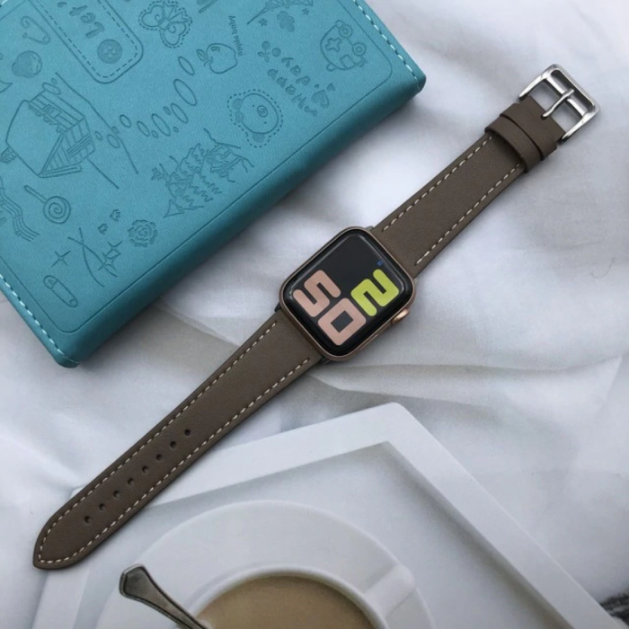 Leather Strap for iWatch 44mm - Bracelet Wristband Durable Leather Watchband Stainless Steel Clasp Gray-Brown