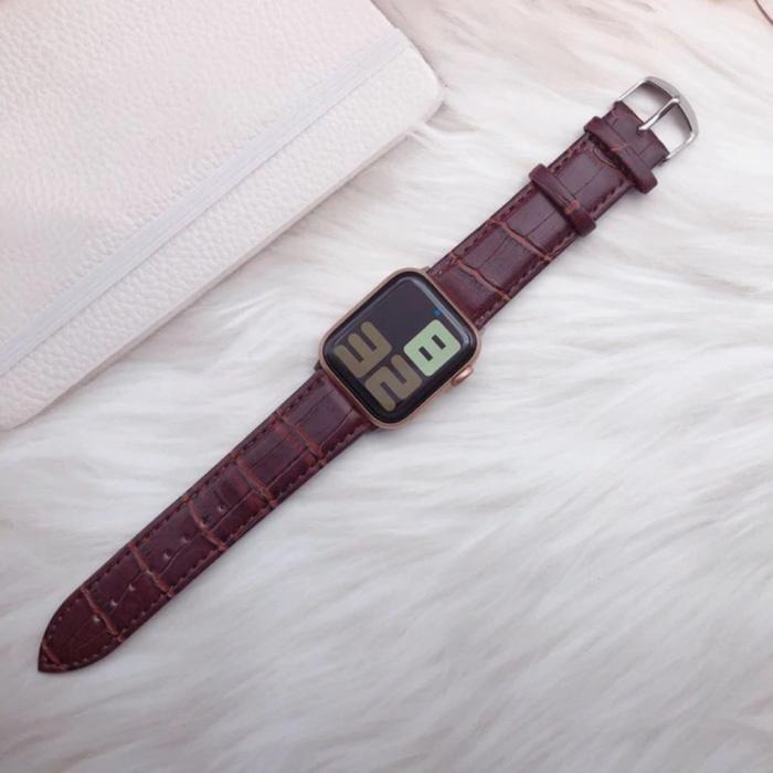Leren Bandje voor iWatch 38mm - Armband Polsband Duurzaam Leer Horlogeband Roestvrij Staal Sluiting Krokodil-Bruin
