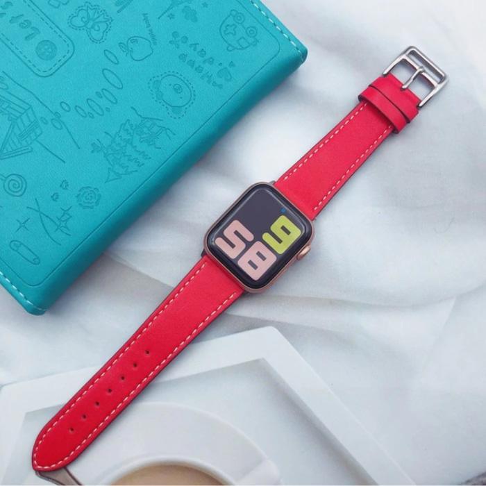 Lederband für iWatch 40mm - Armband Armband Robustes Lederarmband Edelstahlverschluss Rot
