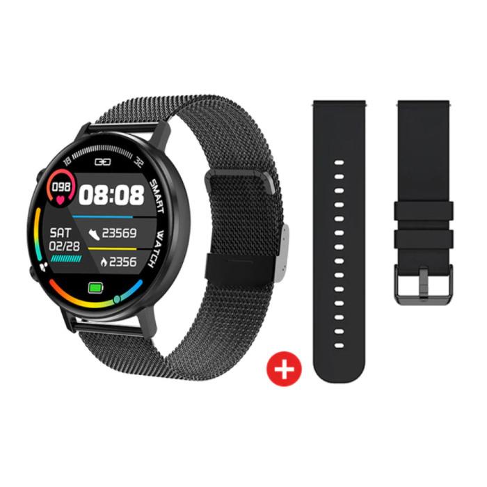 Montre connectée avec bracelet supplémentaire - Montre de suivi d'activité sportive en maille d'acier inoxydable / silicone Fitness Android - Noir