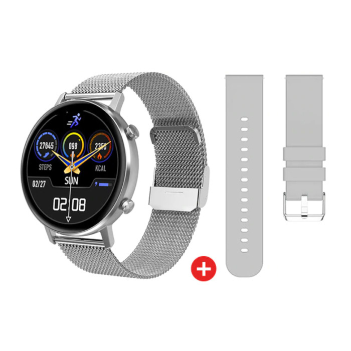 Smartwatch mit extra Armband - Edelstahl Mesh / Silikon Fitness Sport Activity Tracker Uhr Android - Silber
