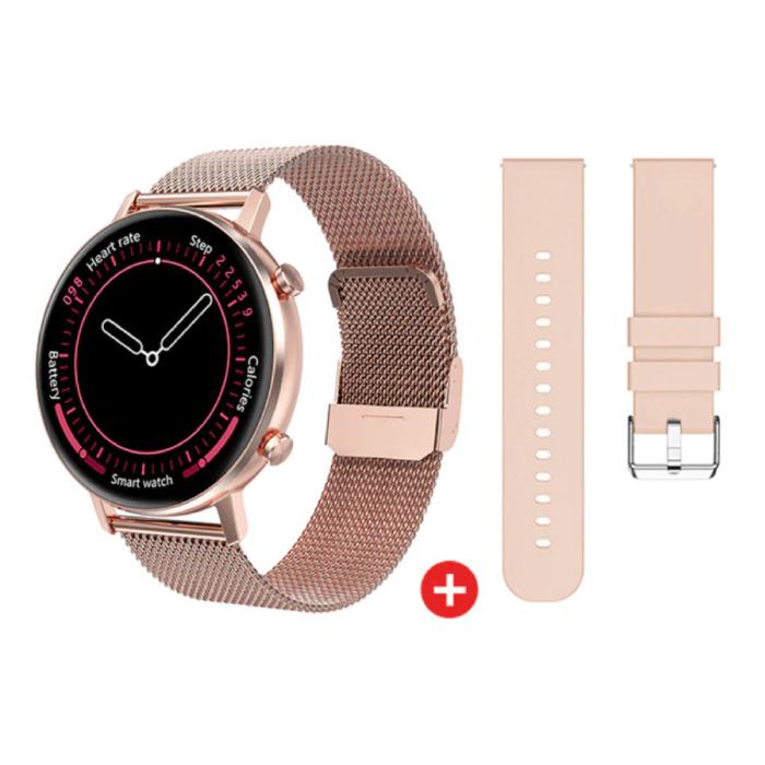 Smartwatch met Extra Bandje - Roestvrij Staal Mesh / Silicoon Fitness Sport Activity Tracker Horloge Android - Roze
