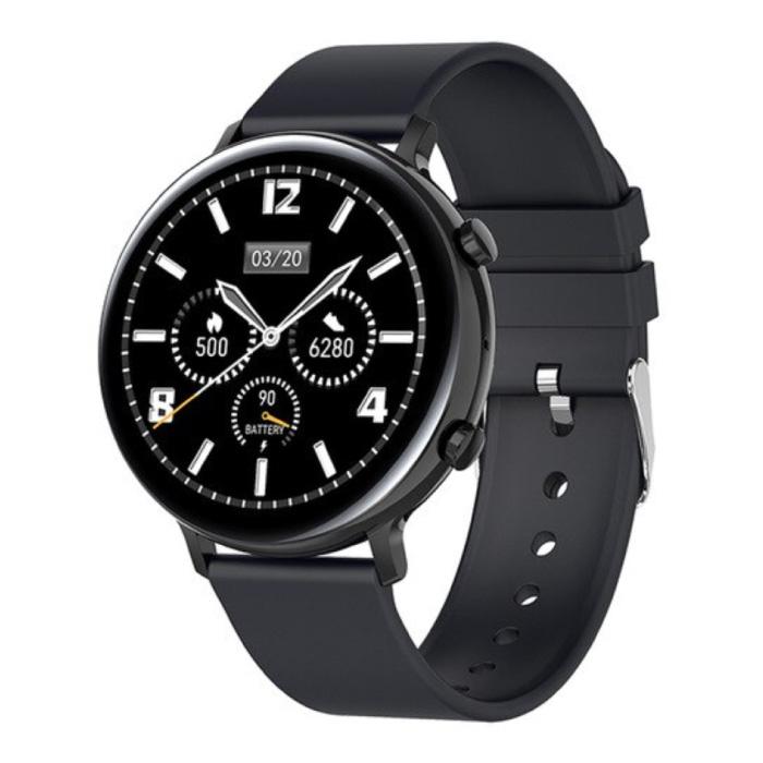 EKG Smartwatch - Silikonband Fitness Sport Activity Tracker Uhr Android - Schwarz