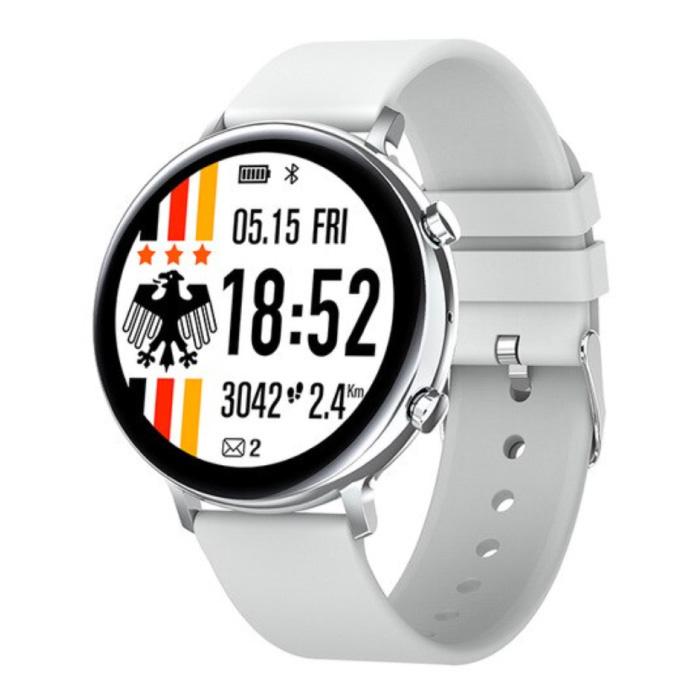 EKG Smartwatch - Silikonband Fitness Sport Activity Tracker Uhr Android - Weiß