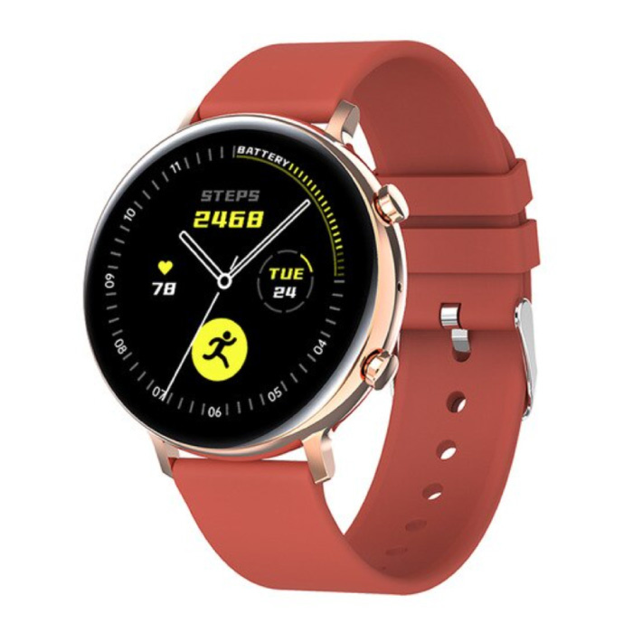 ECG Smartwatch - Silicoon Bandje Fitness Sport Activity Tracker Horloge Android - Rood