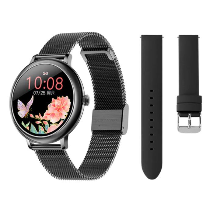 Smartwatch met Extra Bandje - Roestvrij Staal Mesh / Silicoon Fitness Sport Activity Tracker Horloge Android - Zwart