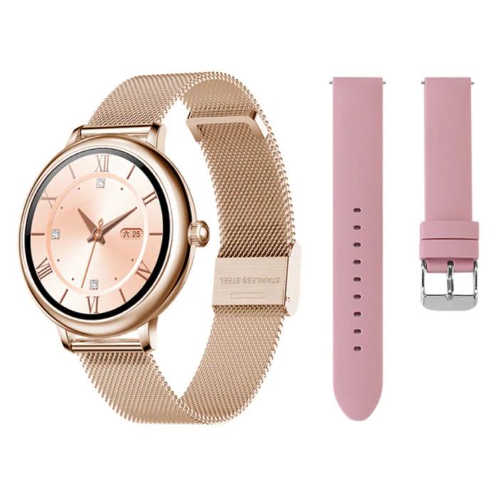 Smartwatch met Extra Bandje - Roestvrij Staal Mesh / Silicoon Fitness Sport Activity Tracker Horloge Android - Goud