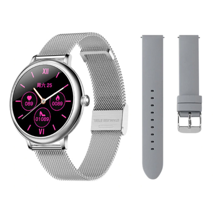 Smartwatch met Extra Bandje - Roestvrij Staal Mesh / Silicoon Fitness Sport Activity Tracker Horloge Android - Zilver