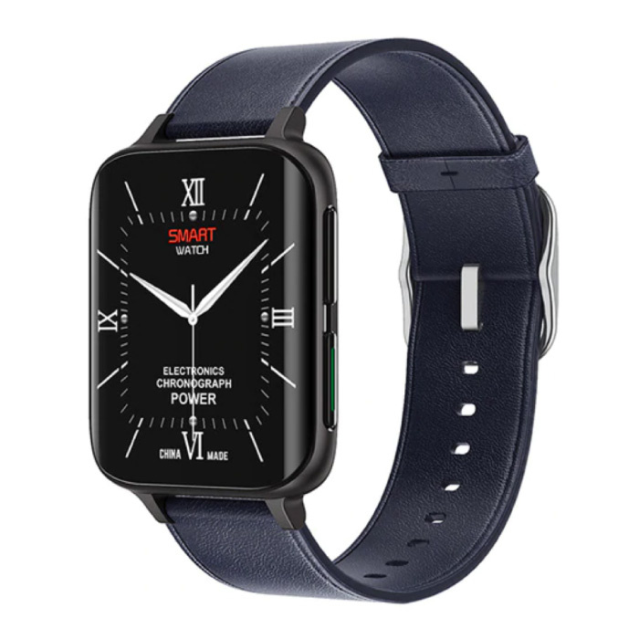 2021 ECG Smartwatch - Bracelet en cuir Fitness Sport Activity Tracker Watch Android - Bleu