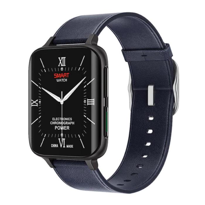 2021 ECG Smartwatch - Leer Bandje Fitness Sport Activity Tracker Horloge Android - Blauw