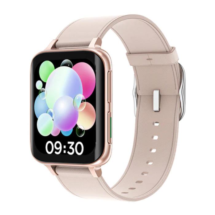2021 EKG Smartwatch - Lederband Fitness Sport Activity Tracker Uhr Android - Pink