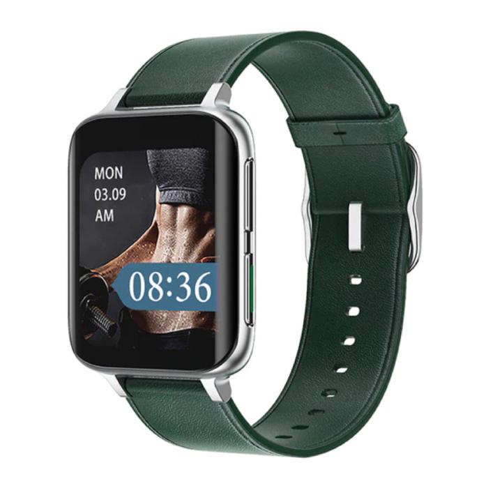 2021 ECG Smartwatch - Leer Bandje Fitness Sport Activity Tracker Horloge Android - Groen