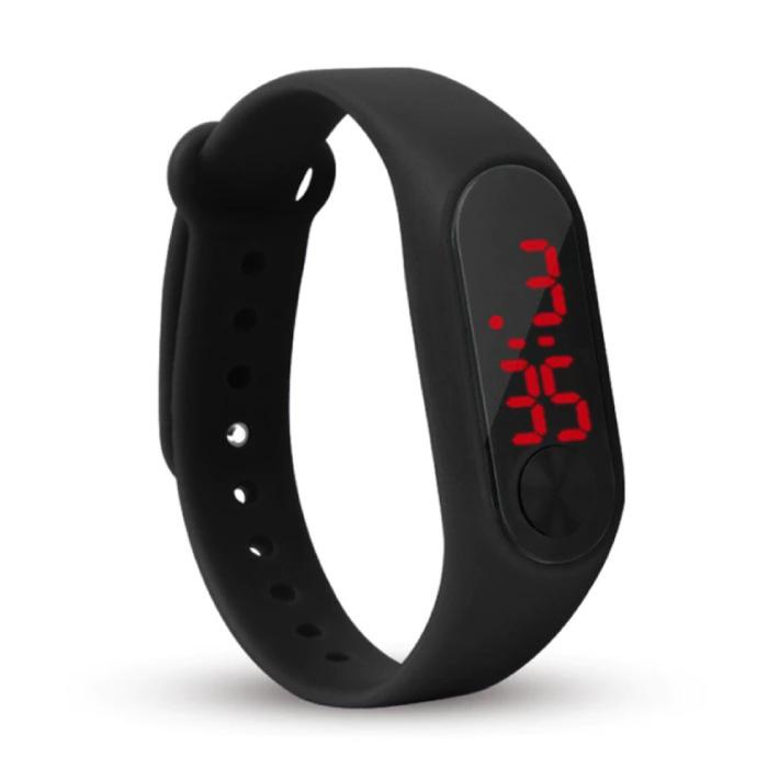 Digitaal Horloge Polsband - Silicoon Bandje LED Scherm Sport Fitness - Zwart