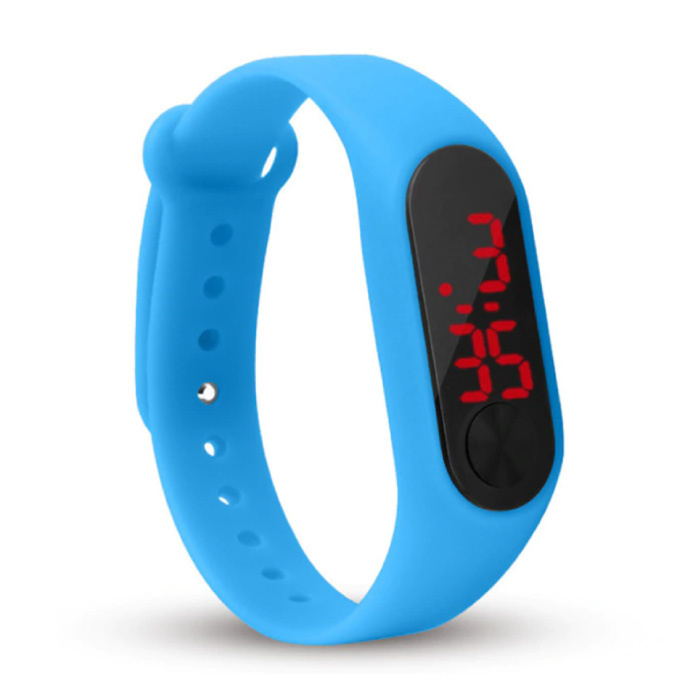 Digitaal Horloge Polsband - Silicoon Bandje LED Scherm Sport Fitness - Blauw