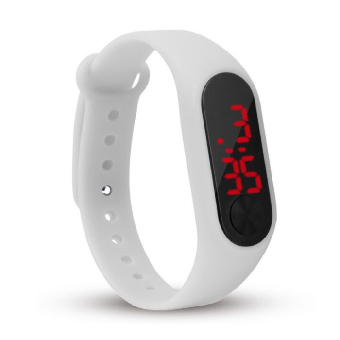 Digitaal Horloge Polsband - Silicoon Bandje LED Scherm Sport Fitness - Wit