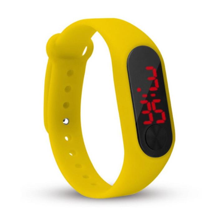 Digitaal Horloge Polsband - Silicoon Bandje LED Scherm Sport Fitness - Geel