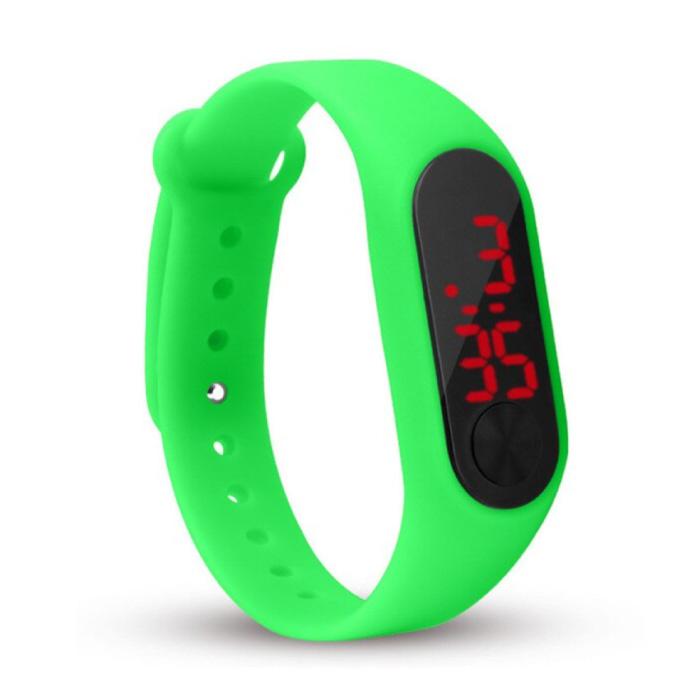 Bracelet de montre numérique - Bracelet en silicone Écran LED Sport Fitness - Vert