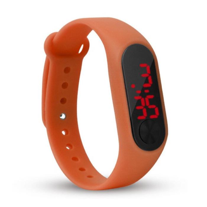 Bracelet Montre Numérique - Bracelet Silicone Écran LED Sport Fitness - Orange