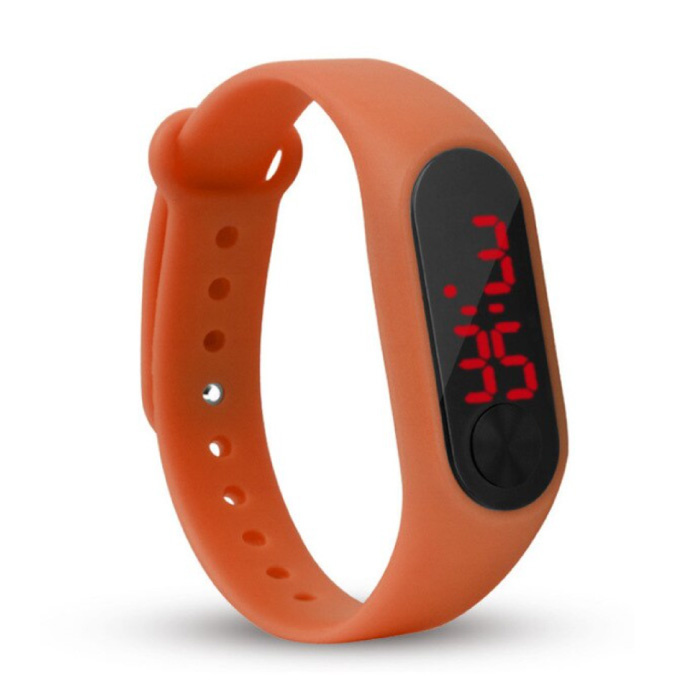Digitaal Horloge Polsband - Silicoon Bandje LED Scherm Sport Fitness - Oranje