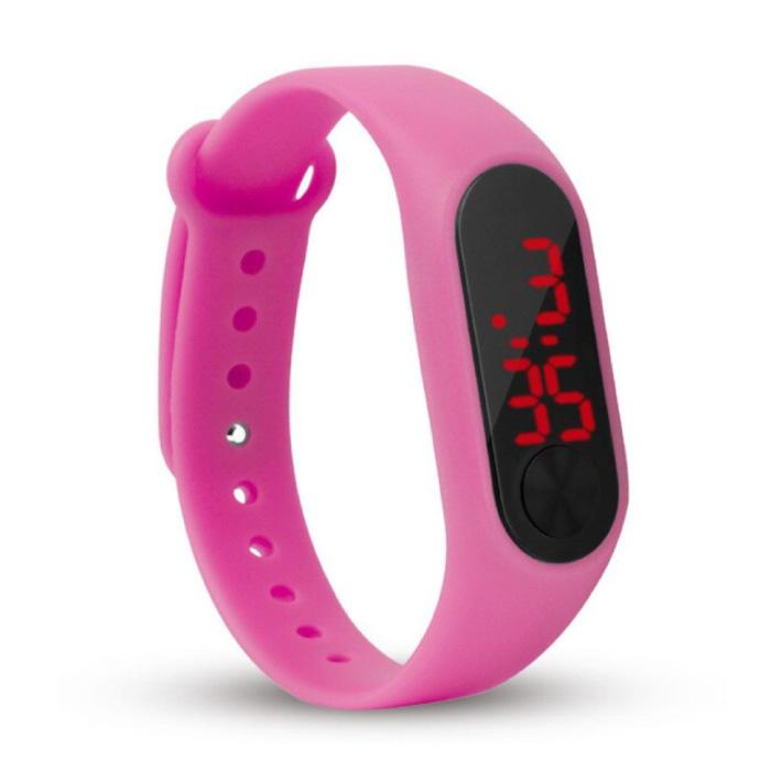 Bracelet de montre numérique - Bracelet en silicone Écran LED Sport Fitness - Rose