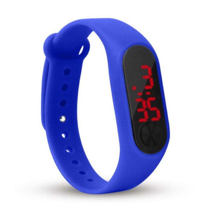 Digitaal Horloge Polsband - Silicoon Bandje LED Scherm Sport Fitness - Donkerblauw