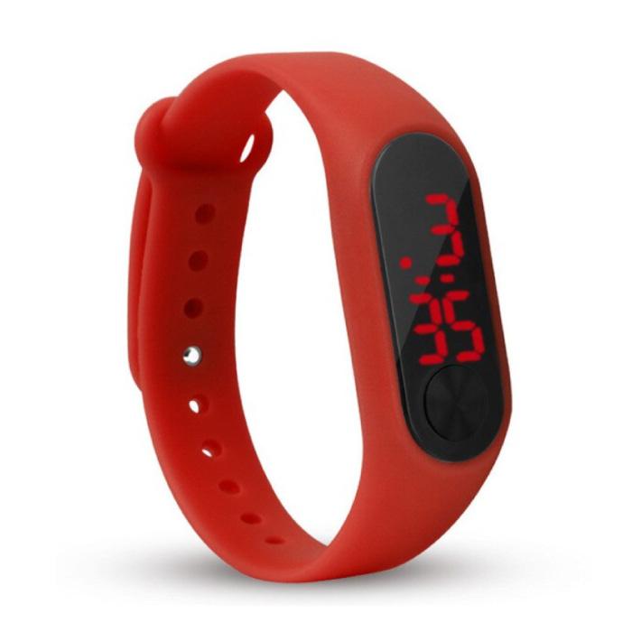 Bracelet de montre numérique - Bracelet en silicone Écran LED Sport Fitness - Rouge