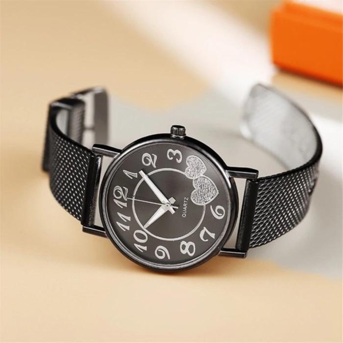 Horloge met Hartjes voor Dames - Kwarts Luxe Anoloog Uurwerk Roestvrij Staal Mesh voor Vrouwen Zwart