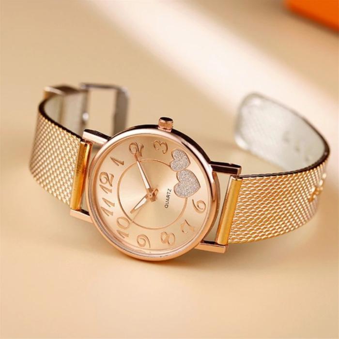 Montre avec coeurs pour femme - Quartz Luxury Anologue Movement Maille en acier inoxydable pour femme en or rose