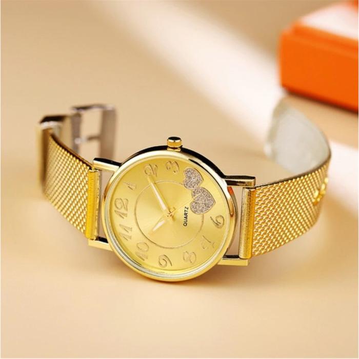 Uhr mit Herzen für Frauen - Quarz Luxus Anologue Uhrwerk Edelstahlgewebe für Frauen Gold