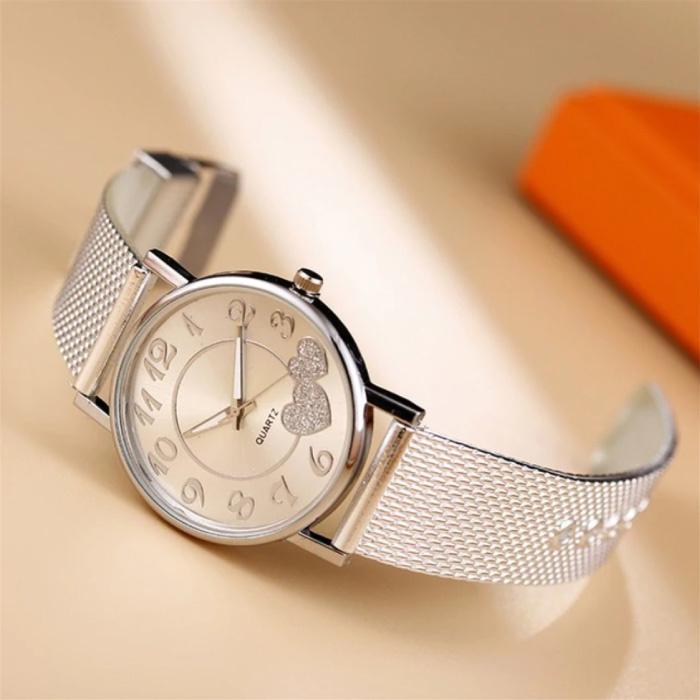 Horloge met Hartjes voor Dames - Kwarts Luxe Anoloog Uurwerk Roestvrij Staal Mesh voor Vrouwen Zilver